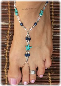 Destination wedding and honeymoon blue beaded barefoot sandals w/ turquoise starfish.