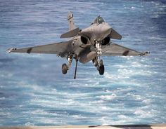 Marine Nationale Dassault Rafale about to land on Port-Avion (aircraft carrier) Charles de Gaulle.