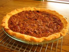 Easy and delicious pecan pie- Cook a little longer than recipe says, and don't take alum. foil off crust so early.