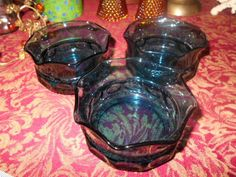 Vintage Kings Crown Sherbert/custard Pinched/Ruffled edge Teal Glass 3