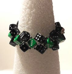 Green and Black Dice Bracelet by risas11722 on Etsy, $7.00