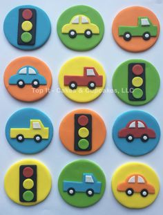 Fondant Cupcake Toppers Transportation - New Ideas Fondant Cupcakes, Cupcake Frosting, Car Cupcakes, Valentine Cupcakes, Fondant Toppers, Cupcake Carros, Transportation Birthday, Cooking Cake, Cooking Tips
