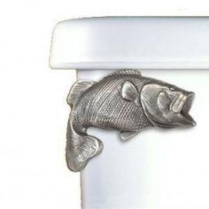 Large Mouth Bass Toilet Flush Handle - Side Mount Love it! New Country Decor, Fashion Art, Fish Bathroom, Bathroom Ideas, Lakeside Cabin, Mountain Decor, Gone Fishing, Fishing Stuff, Fishing Gifts