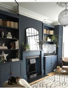 Alcove Ideas Living Room, Grey Walls Living Room, Dark Blue Living Room, Cottage Living Rooms, New Living Room, Home And Living, Living Room Decor, Home Library Design, Interior Design Living Room