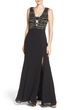 Main Image - Adrianna Papell Beaded Georgette Gown