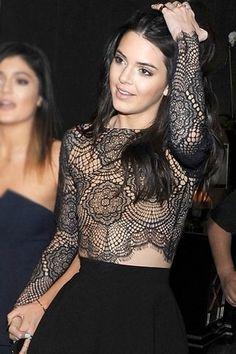For Love & Lemons Grace Crop Top in Black/Nude worn by Kendall Jenner