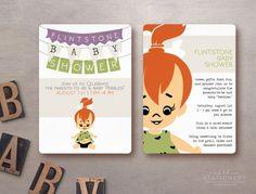 Flintstones Baby Shower Invite! Customizable Digital Download.