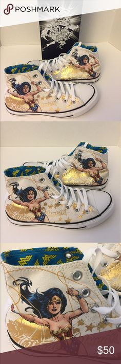 Brand New Wonder Woman Converse Hightops Brand New Converse Wonder Woman High Top Sneakers.  Comes with Alternate Wonder Woman Themed Laces. Converse Shoes Sneakers