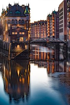 Hamburg Germany Evening at Speicherstadt - Hamburg Germany Evening at Speicher. - Finance tips, saving money, budgeting planner Dusseldorf Germany, Hamburg Germany, Berlin Travel, Germany Travel, Beauty Around The World, Around The Worlds, Great Places, Places To Visit, Germany Photography