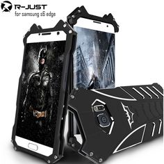 R-JUST batman for samsung galaxy s6 edge metal aluminum Shockproof Cover case s6 edge g9200 Armor anti-knock phone cases