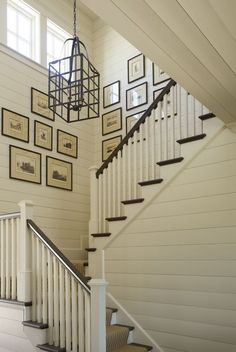 shiplap walls. LOVE this, especially on the stair walls. What stairs doesn't get nicks and kicks?