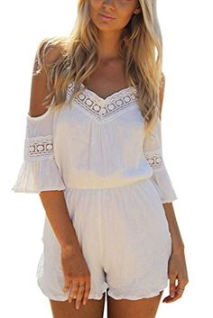 PAKULA Womens Blackless Romper Spaghetti Strap Short Jumpsuits Playsuit ** Check out this great product.(This is an Amazon affiliate link and I receive a commission for the sales)