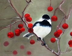 "Original oil painting.  Painting of bird sitting on a branch with red berries. 14"" x 10.5"". Unframed. on Etsy, $85.00"