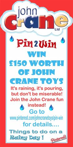 Win John Crane Toy Vouchers in their pin it to win it Pinterest Competition #pinterest #pinittowinit