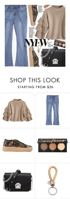 """""""What to Wear to NYFW"""" by beebeely-look ❤ liked on Polyvore featuring MM6 Maison Margiela, Bottega Veneta, Kevyn Aucoin, NYFW, casual, streetwear, bellsleeves and zaful"""