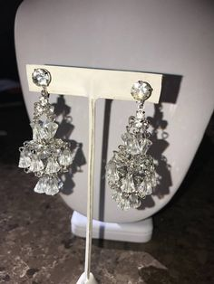 Your place to buy and sell all things handmade Vintage Crystal Chandelier, Glass Chandelier, Chandelier Earrings, Diamond Earrings, Drop Earrings, Boho Fashion, Glass Art, Runway, Glamour