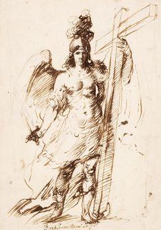 'San Miguel Arcángel'. Bartolomé Esteban Murillo. Pluma y tinta parda, sobre lápiz negro.