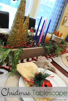 Christmas Tablescape using dollar store deals mixed with thrift store finds and DIY creations by @Jenna_Burger via sasinteriors.net