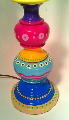 Hand Painted Table Lamp 004 Fun Funky Whimsical and Crazy Whimsical Painted Furniture, Painted Chairs, Hand Painted Furniture, Funky Furniture, Paint Furniture, Furniture Makeover, Painted Lamp, Wicker Furniture, Colorful Furniture