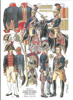 """soldatini uniformi e storia militare: Grande Bretagne """"Horse Guards"""" (The Blues) Officiers 1813-1815"""