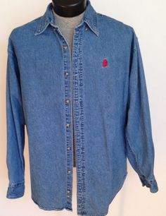 Walt Disney World Men's M  Mickey Mouse Denim Button-Down Shirt  #WaltDisneyWorld #ButtonFront #MickeyMouse