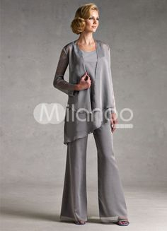 Classic Silver Gray Chiffon Mother Of The Bride Pant Suits - Milanoo