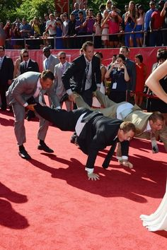 Patriots tight end Rob Gronkowski and his brothers at 2014 ESPY Awards. #WildAndCrazyGuys #GoPatriots