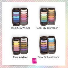 CY TWELVE O ' CLOCK.  Paleta de 12 sombras compactas en tonos claros, medios y obscuros. Incluye 2 aplicadores. Ideal para crear cualquier #look.  Disponible en 4 paletas.  Juega con el #color en tus párpados :)