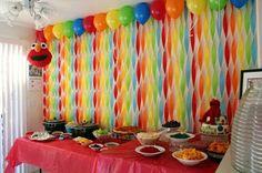 Get Your Craft On: Elmo& World Birthday- streamer wall Birthday Streamers, Rainbow Birthday Party, First Birthday Parties, First Birthdays, Diy Birthday, Birthday Ideas, Rainbow Parties, Birthday Balloons, Birthday Wall