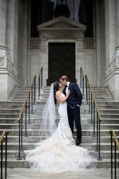 On the steps of Manhattan Library...NYC wedding inspiration w/Anthony Vazquez Photography