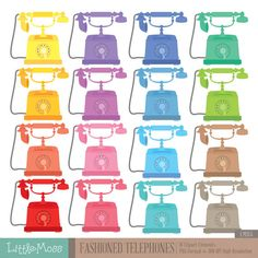 Old Fashioned Telephones Digital Clipart by LittleMoss on Etsy