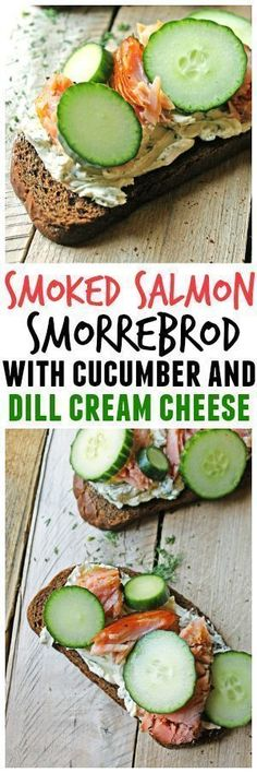 Smoked salmon smorrebrod with cucumber and dill cream cheese recipe! Smorrebrod is an open faced Danish sandwich on dark rye bread. Healthy, bright, and full of flavor!