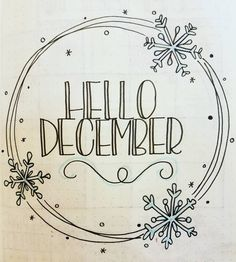 Winter December introductory page in a bullet journal