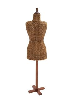 $195 Great jewelry holder! I hang necklaces on it and tuck earrings in the wicker. Teak Rattan Mannequin on @HauteLook