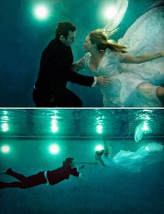 """Underwater engagement pictures..very different. Theme of the wedding """"taking the plundge"""""""