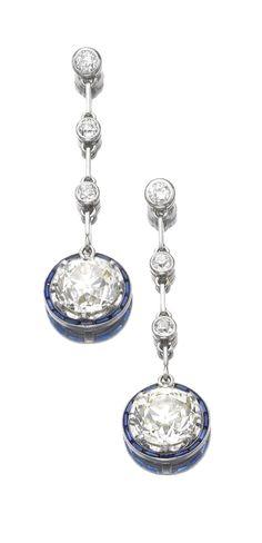 SAPPHIRE AND DIAMOND PENDENT EARRINGS, CIRCA 1920