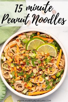 Made in only 15 minutes, these tasty peanut noodles are your new midweek secret weapon. They are so easy to throw together!   Enjoy the taste of a Thai restaurant meal at home that's better than takeout with this super quick, super tasty peanut noodles recipe! #vegan #vegetarian #noodles #peanut #veggies #recipe #dinner Easy Vegetarian Dinner, Best Vegetarian Recipes, Vegetarian Recipes Dinner, Vegan Dinners, Lunch Recipes, Asian Recipes, Vegan Recipes Easy, Vegan Vegetarian, Home Recipes