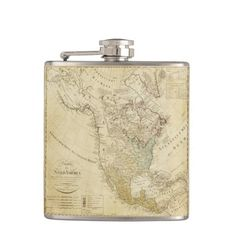 Old map North America Vinyl Wrapped Flask, 6 oz. Flask, North America, Barware, Map, Vintage, Design, Bar Accessories, Location Map, Vintage Comics