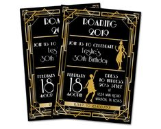 These elegant roaring birthday invitations are a fancy way to invite people to your milestone birthday party, for or birthday -- or any age! They're also great for Charleston dance parties for any occasion - bridal, wedding, prom, graduation. Anniversary Party Invitations, Anniversary Parties, 21st Party, Nye Party, Invitation Design, Custom Invitations, Harlem Nights Theme Party, New Year's Eve 2020, Milestone Birthdays