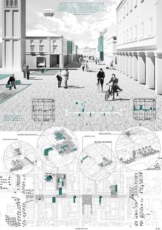 arch drawings -- Monochrome rendering + layout / Winners of the YAC – Post Quake Visions Competition A As Architecture, Architecture Graphics, Architecture Visualization, Architecture Drawings, Architecture Diagrams, Sustainable Architecture, Futuristic Architecture, Architecture Presentation Board, Presentation Layout