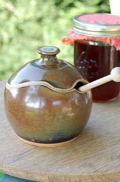 Sugar Bowl / Honey Jar in Rustic Red Made to Order by pagepottery, $28.00