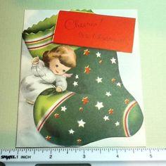 C157-Unused-Volland-Xmas-Greeting-Card-Angel-Sewing-Holiday-Stocking-Cheerio