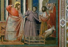 The Expulsion of the Money Changers by Giotto di Bondone 1991 --- Detail of Jesus Christ from by Giotto di Bondone --- Image by © Alinari Archives/CORBIS