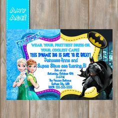 Frozen Batman Twin Birthday Invitation-Frozen by MyPrintableParty