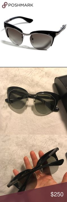 •$750 RETAIL RARE PRADA CATEYE TRENDY SUNGLASSES• •$750.00 PLUS TAX RETAIL SOLD OUT EVERYWHERE HIGHLY DEMANDED RARE PRADA CATEYE TRENDY SUNGLASSES + LEATHER CASE. WORN 2x LIKE NEW CONDITION NO SCRATCHES OR STAINS ALWAYS USED CASE. 200% AUTHENTIC PURCHASED AT NORDSTROMS SUNGLASSES HUT. PERFECT COLORS MATCH EVERYTHING. •••PRICED TO SELL SAME DAY, OFFERS WELCOME THROUGH THE OFFER OPTION, TRADE VALUE $300••• Prada Accessories Sunglasses