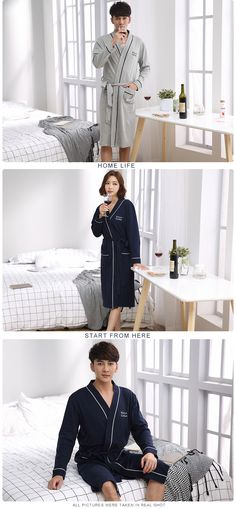 Cotton Couples Robes For Women Man Great Fabric Full Sleeve Knee-Length Letter Pattern One-Set Home Sleepwear Couple Pajamas, Letter Patterns, Buy One Get One, Blue Dresses, Lettering, Couples, Fabric, Sleeves, Cotton