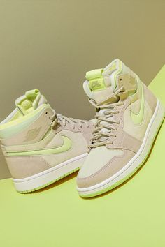 """The summer may be winding down, but with the Women's Air Jordan 1 High Zoom Comfort """"Lemon Twist,"""" you can still wear footwear inspired by the season's warm undertones well into fall. Now if only you could bring summer's weather with you, too. Wings Logo, Jordan 3, Ankle Length, Air Jordans, Stockings, Footwear, Lace Up, Beige, Sneakers"""