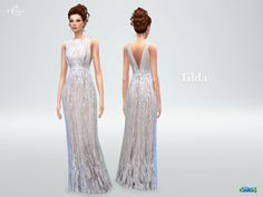 Rendered in a white jasmine-color, this gown features a fitted waist with beautiful embroidery from top to bottom. Found in TSR Category 'Sims 4 Female Everyday'