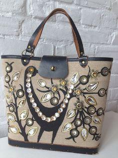 VINTAGE Enid Collins PROUD BIRD Canvas retro SpARKly Purse bag 60's mod leather #EnidCollins #handheld
