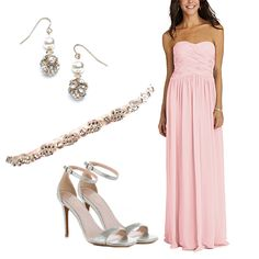 This Donna Morgan Audrey bridesmaid dress in blush pink. The criss-cross ruching on this sweetheart bridesmaid dress is stunning and can balance an embellished belt to really up the elegance factor.  #brideside #realwedding #wedding #bside #blog #fashion #style #strapless #long #pink  Donna Morgan Bridesmaid Dress Picks from Brideside Stylists | Brideside